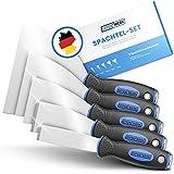 EFFEKTWERK Spachtel - 5tlg Spachtel Set aus rostfreiem Edelstahl - 2x stabil zum Tapeten entfernen mit Anschliff & Metallplatte - 3x flexible Malerspachtel - Maler Werkzeug Spachtelset