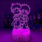 3D Nacht Lampe Illusion Lampe Japanischer Anime Süß und Gaara Figur 3D LED Nachtlicht für Kinder Schlafzimmer Dekoration Bester Geburtstagsgeschenk Kind Nachttischlampe ZMSY