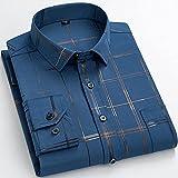 BUXIANGGAN T Shirts Hemd Herren Bedruckte Langarmshirts Casual Stretch Urlaub Style Single Pocket Patch Standard Fit Weiche Anti-Falten Fashion Shirts-9501-11_42_is_Asian_Size_XXL
