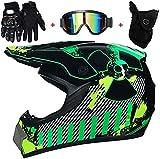 Motocrosshelm, MX-Helm, Motorradhelme, winddichte Maske, Brille und Handschuhe, D.O.T Standard Kinder Quad Bike ATV Go-Kart Helm (Farbe: grün, Größe: S)