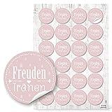 96 FREUDENTRÄNEN Aufkleber rund weiß rosa rosè 4 cm Hochzeits-Deko für Tempo Papier-Taschentücher Tränen Kirche Sticker selbstklebend Etiketten