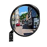 RMAN® Verkehrsspiegel Ø30cm Sicherheitsspiegel Schwarz Außenbereich Konvexspiegel Wetterfester mit Halterung Panoramaspiegel Ist Ideal für unübersichtliche Garagen, Hofeinfahrten UVM