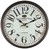 perla pd design Metall Wanduhr mit Glasscheibe Vintage Design Westminster schwarzbraun lackiert ca. Ø 30