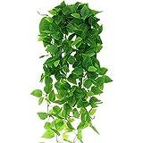 LumenTY 2 Stück Künstliche Hängepflanzen Gefälschte Efeurankengrün Hängepflanze Kunstpflanze 100 cm Grüne Dillpflanze für Hochzeit Hausgarten Dekoration