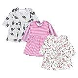 TupTam Baby Mädchen Kleid Langarm Tunika 3er Pack, Farbe: Farbenmix 3, Größe: 86