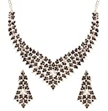 Touchstone Indian Bollywood Tinsel Town Traditional Western Taste Studded Diamond Look Faux Black Onyx White Rhinestones Designer Bridal Jewelry Necklace Set In Silver Tone for Women.