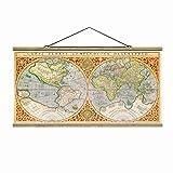 Stoffbild mit Posterleisten - Historische Weltkarte Orbis Terrare Compendiosa Descriptio 50cm x 100cm Eiche