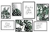 ANHUIB 7er Set Premium Poster,Poster Set Wohnzimmer,Grüne Blätter Bild,Bilder Inspirierende Zitate,Moderne Pflanze Leinwand Wandbilder für Wohn-Schlafzimmer Wandeko,3 x DIN A3 + 4 x DIN A4,Ohne Rahmen