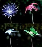 4er Set LED Solar Gartenstecker - Solarstecker mit Farbwechsel (Schmetterling, Libelle, Blume, Kolibri) Solarleuchte Dekoleuchte solar figur