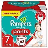 Pampers Baby-Dry Pants 7, 63Höschenwindeln, Einfaches An- und Ausziehen, Zuverlässige Pampers Trockenheit, 17kg+