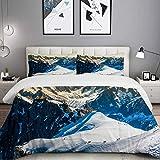 ATZTD Bettwäsche-Set Mont Blanc Chamonix Französische Alpen Frankreich Europa Touristen Klettern Berg Mikrofaser Bettbezug Set 135 x 200 cm mit 2 Kissenbezügen 50 x 80 cm