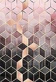 HJFGIRL Teppich-Moderne Mode Roségold Rosa Farbverlauf Geometrische Raute Gitter Teppiche Sehr Strapazierfähiger Teppich Für Wohnzimmer Schlafzimmer (Erhältlich in 10 Größen),160 * 230