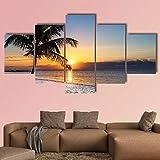 IOOIO Bilder 5-teilig Leinwandbilder Wanddeko Kunstdruck Sonnenaufgang Key West Bilder 5 Leinwanddrucke Modern Leinwand Wohnzimmer Wand Bilder Kreatives Geschenk