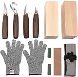 NRANSON Holz Carving Tools Set - Walnut Griff Holz Carving Messer, Whittling Messer, Haken Messer, Polieren Verbindung, schärfen Stein, Cut Beständig Handschuhe, Holz Carving Kit für Anfänger