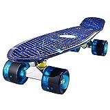 Mini Cruiser Skateboard Retro Komplettboard, 55cm Vintage Skate Board mit Kunststoff Deck und blinkenden LED-rollen, Cruiser-Board mit LED Leuchtrollen für Erwachsene Kinder Jungen (Starry Blue)