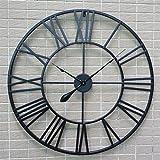 3D Wanduhren Wall Clocks Modern Große Retro Black Iron Kunst Hohl Wanduhr Römische Ziffern Wohnkultur 80