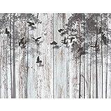 Fototapete Abstrakt Holzoptik 352 x 250 cm Vlies Tapeten Wandtapete XXL Moderne Wanddeko Wohnzimmer Schlafzimmer Büro Flur Schwarz Blau 9104011a