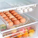 Aufbewahrungsbox,automatischer einziehbarer Schubladen-Organizer aus transparentem Kunststoff,Auto Scrolling Egg Storage Holder,Eggs Storage Rack für Kühlräume aus Kunststoff-Platz für bis zu 21 E