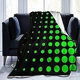 Ultra Soft Micro Fleece Durable Schwarz und Lime Green Progressive Dots Überwurfdecken Weiche Warme Decke Blatt für Bett Bettwäsche Sofa Büro Wohnzimmer Wohnkultur-50*40in