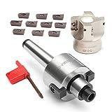 Binchil MT2 M10 & 50mm Stirnfraeser + 10 Stueck APMT1604 Hartmetallschluessel CNC