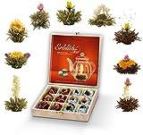 Creano Teeblumen Geschenkset in Teekiste aus Holz 12 Erblühtee in 9 Sorten Weißtee & Schwarztee, Geschenk für Frauen, Mutter, Teeliebhaber