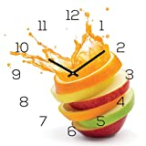Wanduhr Glas 30x30cm Uhr Glasbild Orange Apfel Wasser Frucht Küche Wanddeko Küchenuhr Glasdeko