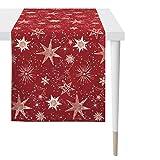 Apelt 3624 Weihnachts-Tischdecke Sterne l Tischläufer 48x140 l rot gold