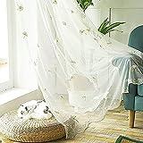 Vorhangschals Voile Vorhänge mit Ginkgo Biloba Stickerei Versteckte Schlaufen & Edle Stickerei Wohnzimmer Modernes 2-teiliges Set, Gelb, 150X270cm