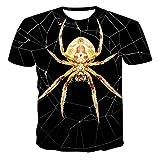 Unisex 3D Aufdruck T-Shirts,Unisex Kurzarmhemd 3D Gedruckte Goldene Spinne Tiermuster Schwarz Atmungsaktiv Lose O-Ausschnitt Bluse Geschenk Für Frauen Männer Jugend Geburtstag, S.