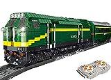 Brigamo Bausteine Zug Ferngesteuerte Diesel Lokomotive mit Motor,Servo & 2,4 Ghz Fernsteuerung und Schienen Zubehör
