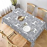 Dekorative Tischdecke, Tischwäsche, Pudel-Silhouette, Blumenmuster, minimalistisches Muster, grau, Tischdecke für Küche, Esszimmer