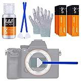 K&F Concept Sensor Reinigungsset mit Mikrofaser Swabs 24mm und Flüssig-Reiniger für Vollformat-Kameras, Reinigungs Kit für DSLR Kamera Objektive Computer Handy