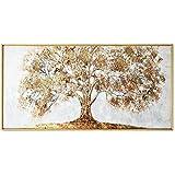 Handgemaltes Messer Goldbaum Ölgemälde auf Leinwand Große Palette 3D-Bilder for Wohnzimmer Moderne abstrakte Wand-Kunst-Bilder Handgemachte Kreuzstich (Color : White, Size (Inch) : 60X120cm)