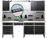 Ondis24 Werkstatt Werkstatteinrichtung 240cm Komplettset mit LED und Bluetooth Lautsprechern, inkl. versenkbare Steckdosenleiste grau Werkbank Werkzeugschrank Lochwand