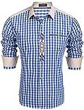 Burlady Trachtenhemd Herren Hemd Kariert Oktoberfest Cargohemd Baumwolle Freizeit Hemden Super Qualität- Gr. XXL, Blau