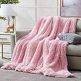 Hansleep Zottelige Kunstfell-Decke, ultraweicher Plüsch-Überwurf, Decke mit wendbarem warmem Sherpa – Sofa-Couch-Bett-Dekoration für alle Jahreszeiten (Rosa, Überwurf)