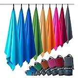 Fit-Flip Microfaser Handtuch – federleicht, Ultra saugstark und schnelltrocknend – (1x 140x70cm + 1x Tasche, Anthrazit Grau)