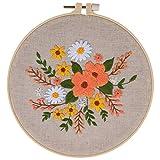 Anfänger Stickerei Set Kreuzstich Set Handmade Embroidery Starter Kit Blumenmuster Stickerei für Erwachsene Weiblich DIY Handwerk, mit Stickrahmen, Sticknadeln, Stickgarne, Besticktes Tuch