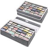 DIMJ 2 Stück Aufbewahrungsboxen, 30 Zellen Schublade Organizer für Unterwäsche Faltbare Schublade Organizer zum Aufbewahren von Socken, Krawatten und andere kleine Zubehörteile (Grau)