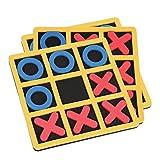 Kisangel 3 Pcs Tic Kappe Puzzle Bord Tragbare Noughts Kreuze Intelligenz Spielzeug Farben Formen Kognitiven Pädagogisches Spielzeug für Kinder Erwachsene