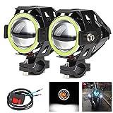 2x Motorrad Scheinwerfer mit Angel Eyes Lichter CREE U7 DRL Nebelscheinwerfer für Autos Fahrrad Boot ATV Frontscheinwerfer High/Dim/Strobe 3 Modi 6500K Weiße Farbe S