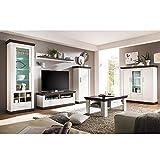 Lomadox Wohnzimmer Wohnwand Set in Pinie weiß & Wenge inkl. Couchtisch und Highboard