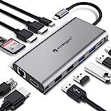 Docking Station, 12 Ports USB C Hub Triple-Display USB C Adapter mit Triple 4K-HDMI,Typ C PD,4 USB Ports,Gigablit Ethernet RJ45,SD/TF Kartenleser Kompatibel für MacBook Pro/Air und Mehr Typ C G