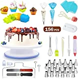 SYOSIN Tortenplatte Drehbar 156pcs Tortenständer Rutschfester Kuchen Drehteller Cake Decorating Turntable, Cake Decorating Supplies mit Kuchenbecher, Spritzbeutel, Edelstahldüsen, für Backen Gebäck