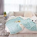 Einfache Art Kaninchen Wolldecke Dicke Wolke Nerz Wolldecke Einfarbig Mehrzweckdecke Lammwolle Wunsch 120*150cm1.3KG Blau