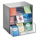 mDesign Aufbewahrungsbox für Teebeutel, Kaffeepads, Zucker usw. – kompakte Teekiste aus Kunststoff mit 27 Fächern – Küchen Organizer mit 3 Schubladen – grau und durchsichtig