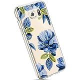 Ysimee Hülle kompatibel mit Samsung Galaxy S6 Edge Schutzhülle -Transparent Durchsichtig Handyülle, Ultra Dünn Weich Silikon TPU Handyülle Cover Stoßfes Kratzfest Bumper Case Blau Blume