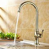 WYZZGZQDP Poliertes Messing Drehbarer Einhebel-Badezimmer-Küchen-Waschbecken-Waschtisch-Wasserhahn-Mischbatterie