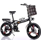 RDMSLKQ 20 Zoll Licht Aluminium-Faltrad-Klapprad, Faltfahrrad-Herren-Damen, 6 Gang Klappräder Cityrad ,Schnellklappsystem