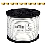 PremiumX 100m Koaxialkabel 135dB 4-Fach SAT Antennenkabel Koaxkabel für DVB-S / S2 DVB-C DVB-T BK Anlagen RG6 Satellitenkabel SAT-Kabel 10x F-Stecker 0,24 €/